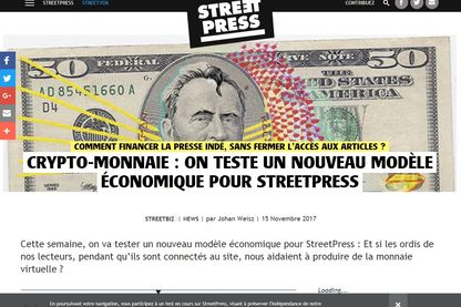 Pendant une semaine, les visiteurs de StreetPress ont miné de la crypto-monnaie