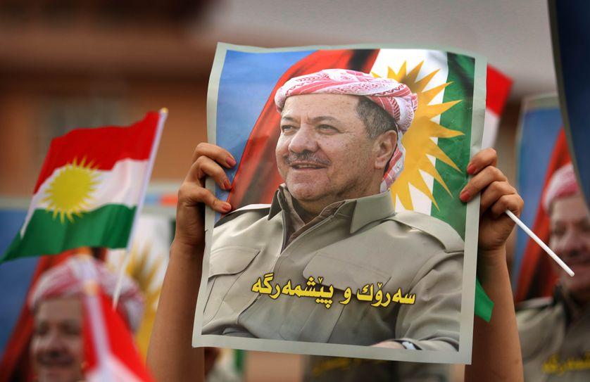Le 30 octobre 2017, les étudiants de l'Université de Salahaddin, en soutien au leader kurde Massoud Barzani, manifestent à Erbil, capitale du Kurdistan irakien autonome.