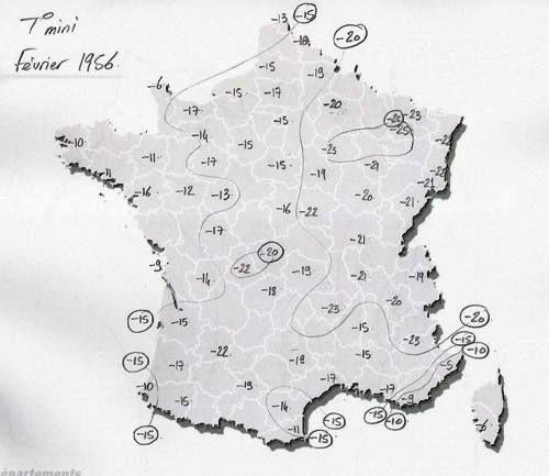 Une carte météo de 1956
