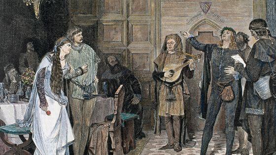Des troubadours chantant et récitant un poème au XII ou XIIIe siècles.