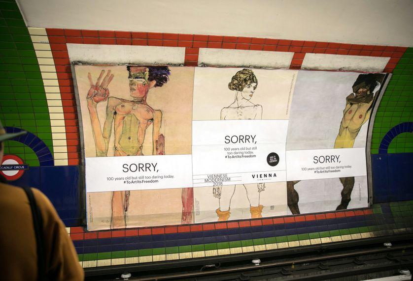 Des nus d'Egon Schiele censurés dans le métro londonien