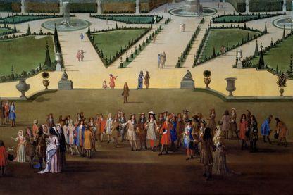 """""""Promenade de Louis XIV (1638-1715) en vue du parterre du nord dans les jardins de Versailles"""" (Détail). Peinture de Etienne Allegrain en 1688"""