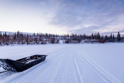 Coucher de soleil au pôle Nord en hiver.