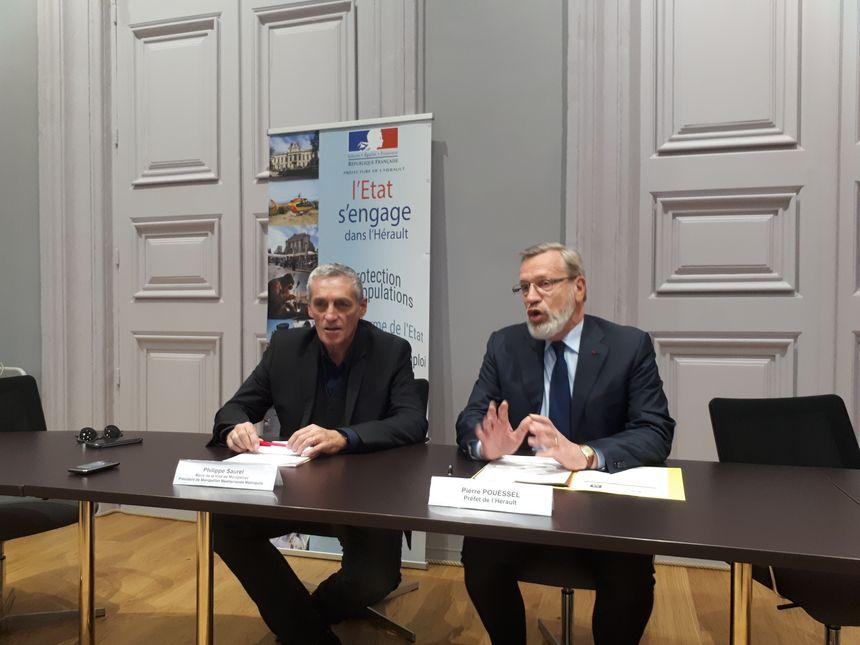 Philippe Saurel et Pierre Poussel  dans la salle Jean Moulin de la préfecture de l'Hérault - Radio France