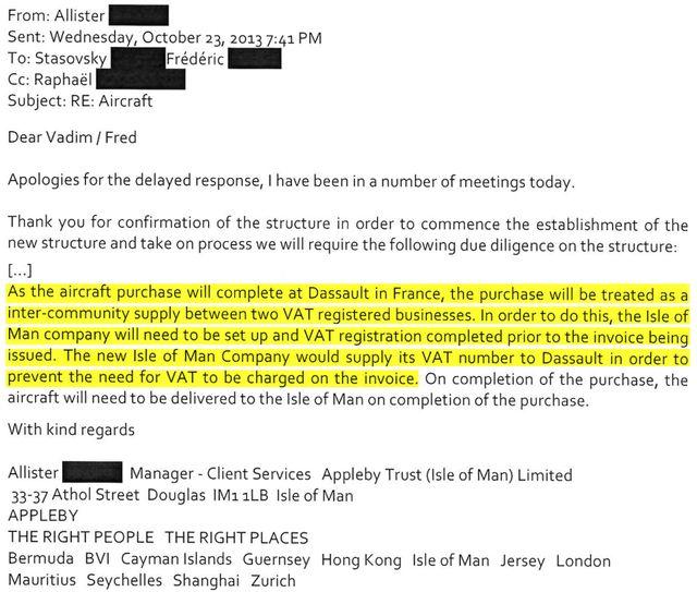 Extrait d'un échange de mails entre le responsable du service client d'Appleby et le représentant d'Oleg Tinkov, le 23 octobre 2013