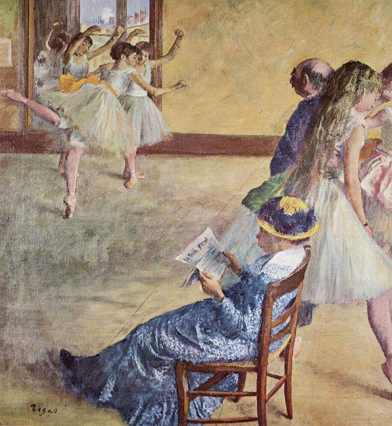 Edgar Degas, Classe de ballet (1878-1880) Philadelphia Museum of Art. Marie van Goethem est représentée de dos à droite de la scène