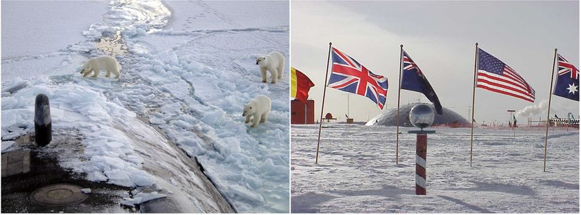 3 Polar bears approach the starboard bow of the Los Angeles-class fast attack submarine USS Honolulu, while surfaced 280 miles from the North Pole/The ceremonial marker at the South Pole & flags of the original signatory nations of Antarctic Treaty.