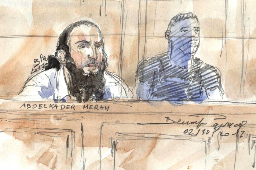 Croquis d'Abdelkader Merah, dans le box des accusés à la cour d'assises spéciale de Paris, avant le verdict