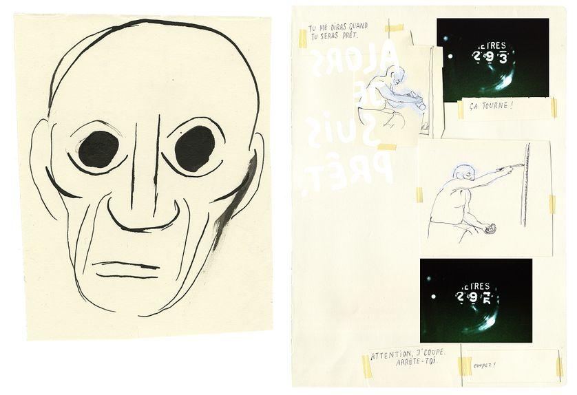Oeuvres de Philippe Dupuy autour d'Henri-Georges Clouzot et du film Le Mystère Picasso : Portrait de Picasso