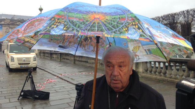 Marcel Campion, le roi des forains, en marge de l'installation de le grande roue place de la Concorde à Paris