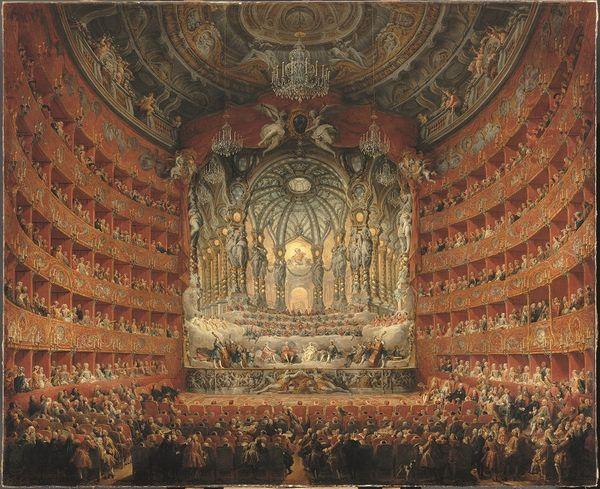 """Giovanni Paolo Panini : """"Fête musicale donnée par le cardinal de La Rochefoucauld au théâtre Argentina à Rome en 1747 à l'occasion du mariage du Dauphin, fils de Louis XV"""", 1747, Huile sur toile, 205 x 24 cm Paris, musée du Louvre"""