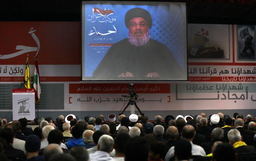 """Hassan Nasrallah, le 10/11/2017. Le chef du mouvement chiite libanais accuse l'Arabie Saoudite de """"détenir"""" le Premier Ministre démissionnaire Saad Hariri"""