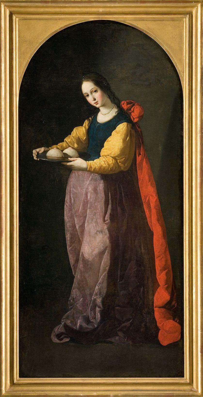 """Sainte-Agathe de Catane, vierge et matyre chrétienne, dont l'une des tortures fut de se faire arracher les seins, et dont la légende est contée par Jacques de Voragine dans """"La Légende dorée"""""""