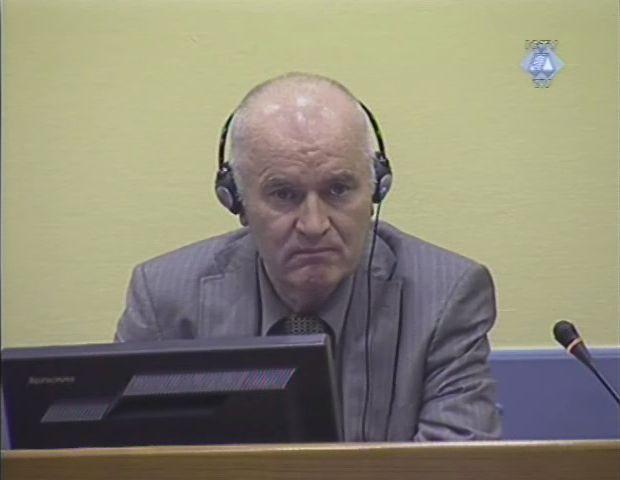 Ratko Mladić, 3 June 2011, surnommé le « Boucher des Balkans », Source, ICTY Courtroom Photographs