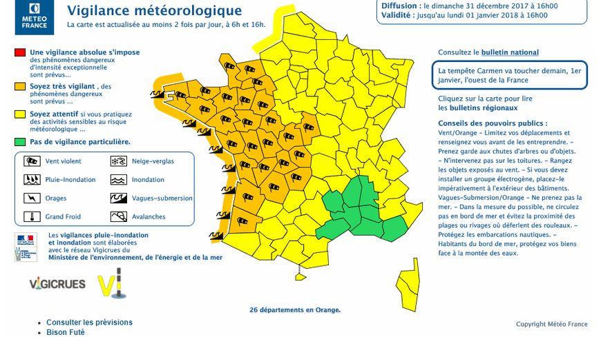 Capture d'écran de l'alerte donnée par Météo France.