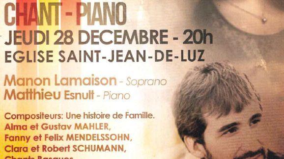 Concert chant et piano - jeudi 28 décembre 2017 à 20h en l'Église de Saint-Jean-de-Luz