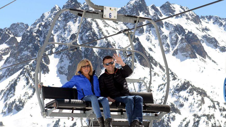 Le président et sa femme, en avril dernier à La Mongie.