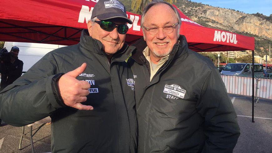 L'humoriste Jean-Marie Bigard et le pilote ancien champion du monde Jean-Louis Schlesser avant le départ de la Rallye Africa à Menton
