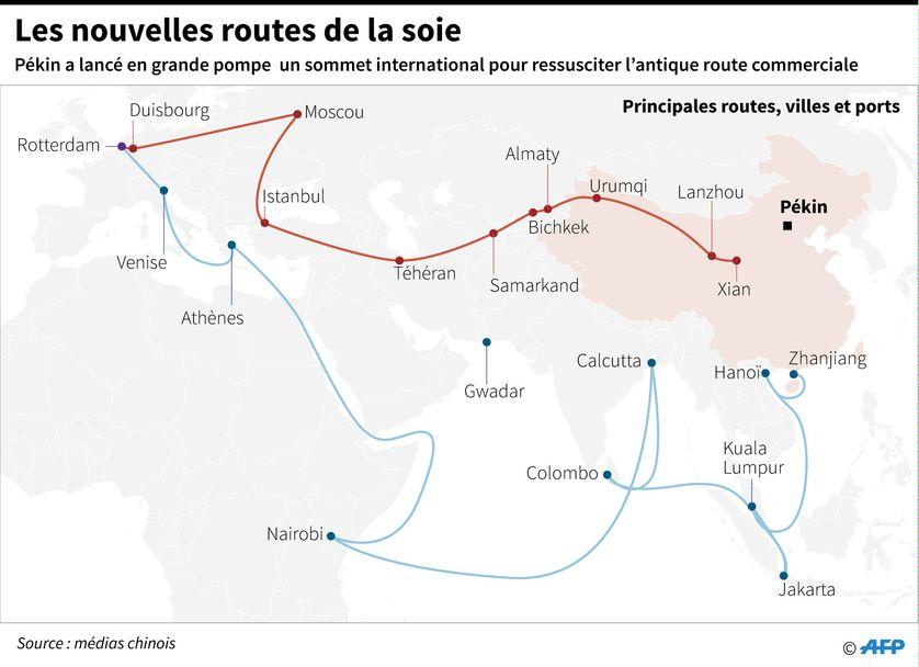 Carte indiquant les nouvelles routes de la soie que le gouvernement chinois entend promouvoir.