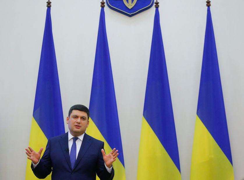 Le Premier Ministre Volodymyr Groysman lors d'une conférence de presse hier.