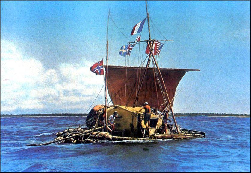 """Le radeau """"Kon-Tiki"""" de l'explorateur norvégien Thor Heyerdahl."""