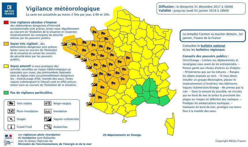 Météo France place 26 départements de la façade Atlantique en vigilance orange aux vents violents et aux vagues-submersion. Une alerte valable de minuit jusqu'à demain 16 heures.