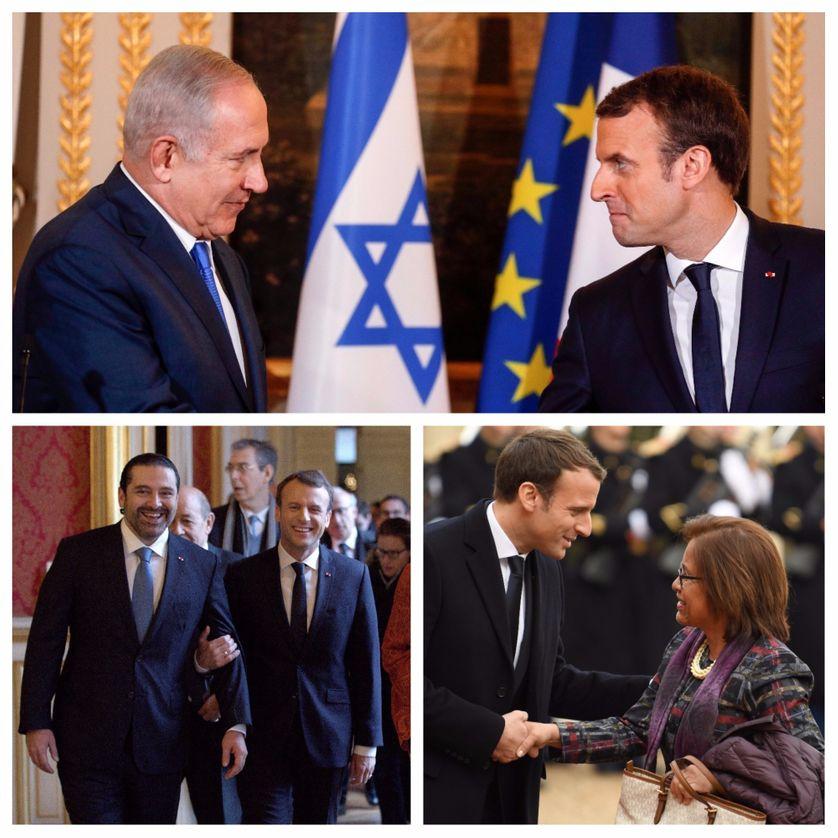 Emmanuel Macron avec Benyamin Netanyahou, premier ministre israélien, Saad Hariri, premier ministre démissionnaire libanais, et Hilda Heine, présidente des Iles Marshall, novembre-décembre 2017