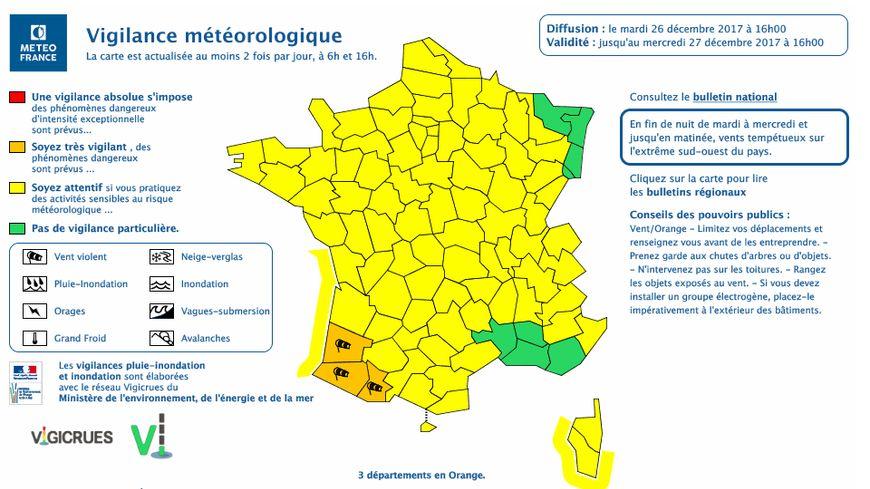 La vigilance jaune tient jusqu'à ce mercredi 27 décembre à 16 heures