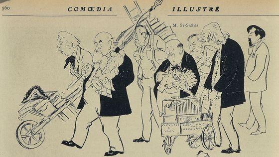 Le Déménagement du conservatoire: M. G. Fauré, M. Dujardin-Beaumetz, M. Bourgeat, M. Bernheim, M. St-Saens, M. Massenet, M. Debussy