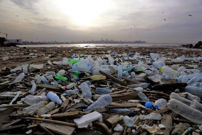 Une plage jonchée de déchets en plastique