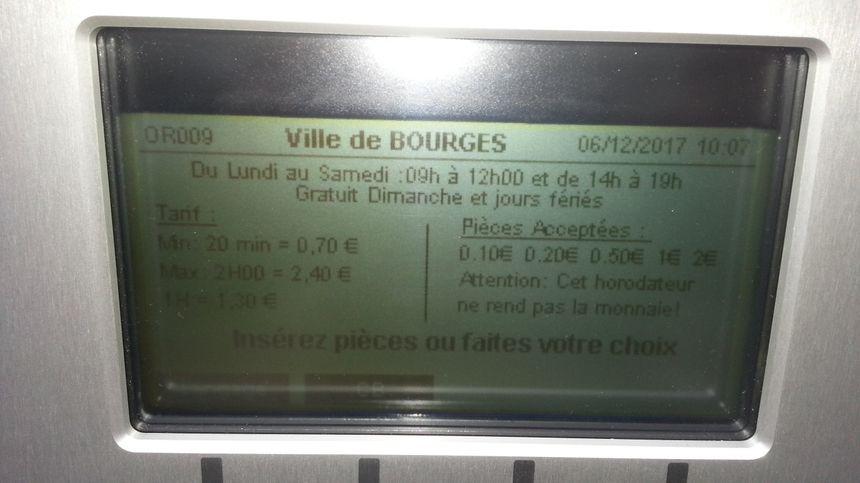 Les nouveaux tarifs de stationnement s'appliquent à partir du 2 janvier à Bourges