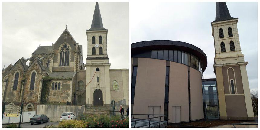 L'ancienne et la nouvelle église de Gesté