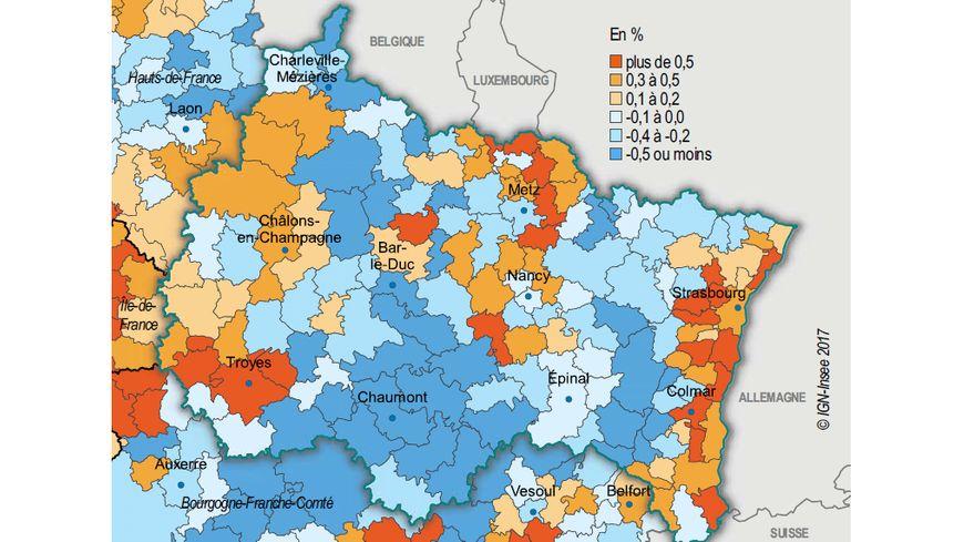 Taux d'évolution annuel de la population entre 2010 et 2015, par Etablissement public de coopération intercommunale (EPCI)