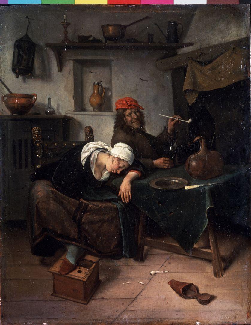 Les paresseux, Jan Havicksz Steen (1626-1679), Musee de l'Ermitage, Saint Petersbourg