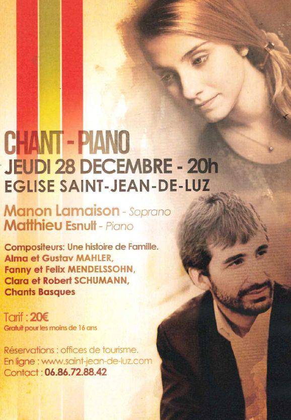 Concert chant & piano - jeudi 28 décembre 2017 à 20h - Église de Saint-Jean-de-Luz