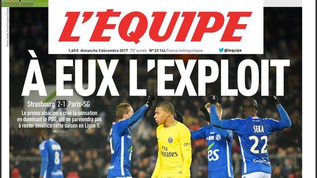 La une du quotidien L'Equipe le dimanche 3 décembre 2017, après la victoire de Strasbourg contre le PSG.