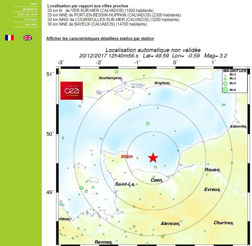 La carte situant le séisme sur le site du CEA