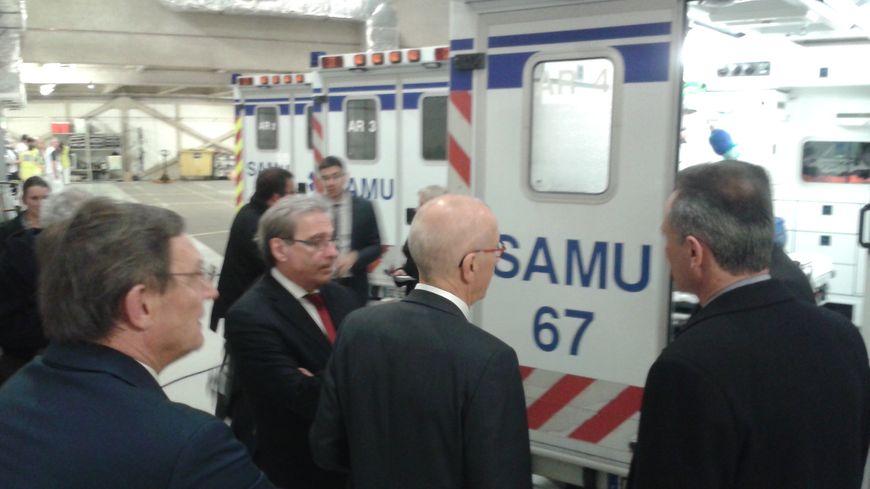 Visite du préfet du Bas-Rhin Jean-Luc Marx au SAMU 67, dimanche 31 décembre 2017.