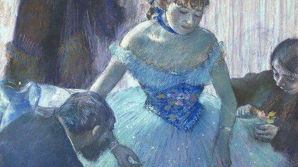 """""""Danseuse dans sa loge"""", pastel d'Edgar Degas, 1879. Jeune ballerine préparée par une mère et un protecteur."""