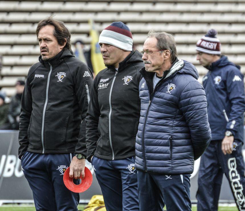 Ludovic Loustau (à gauche) avait déjà vu Raphaël Ibanez (au centre) être pressenti à la tête de l'équipe de France, avant le feuilleton Jacques Brunel