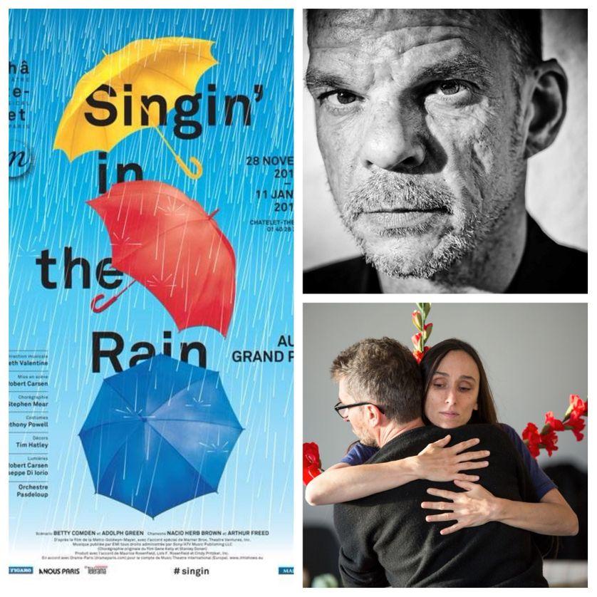 A gauche : affiche de Singin' in the Rain ; en haut à droite : Denis Lavant ; en bas : Actrice