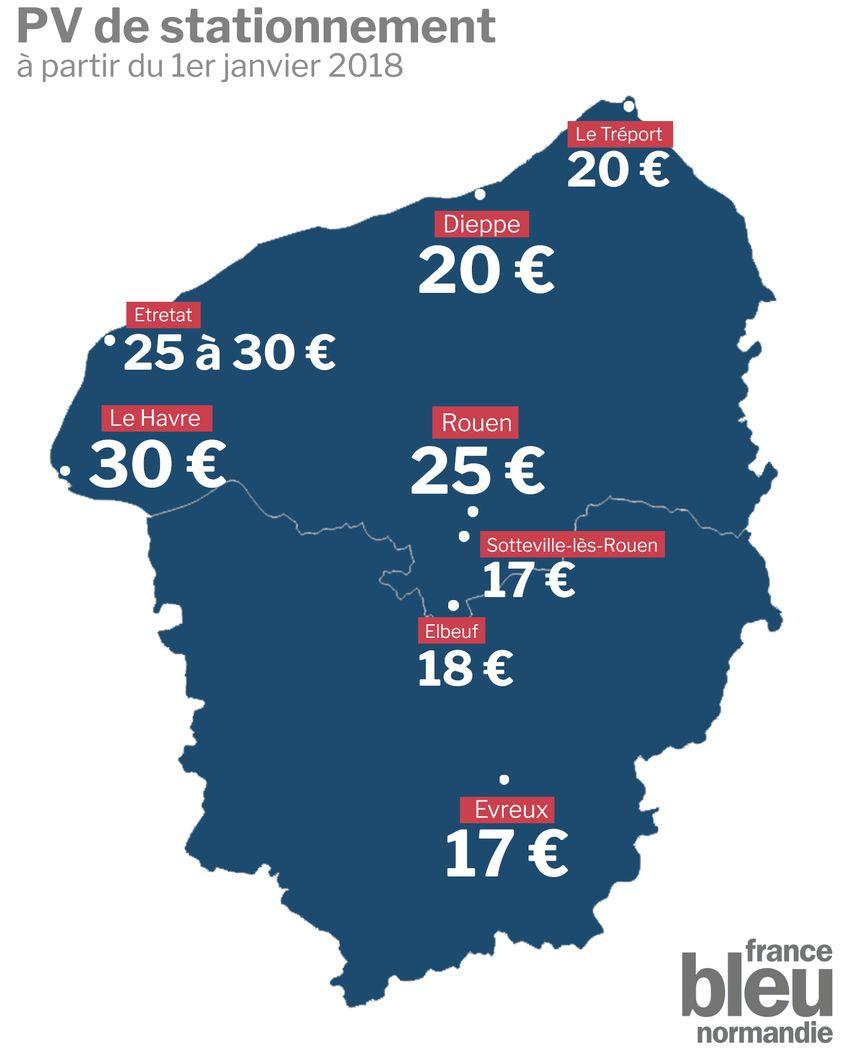 La nouvelle carte pour les tarifs des amendes de stationnement en Seine-Maritime et dans l'Eure.
