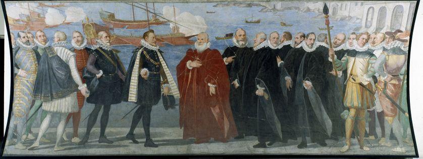 Le doge Giacomo Durazzo Grimaldi reçoit Don Juan d'Autriche en 1574 au port de Gênes, vers 1585, fresque attribuée à Lazzaro Tavarone. Museo di Sant'Agostino, Gênes, Italie