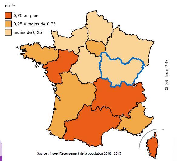 Taux de variation annuel de la population entre 2010 et 2015.