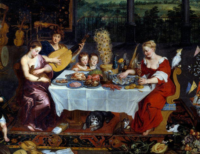 Le gout. Detail representant un repas de fruits de mer, volaille en presence de musiciens. Peinture de Jan Breugel Le Vieux
