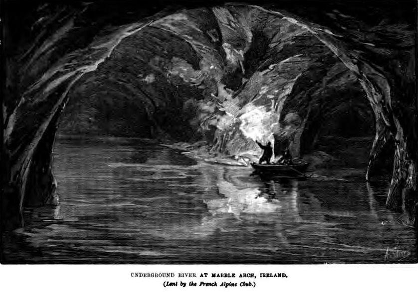 Une illustration de la première exploration de Marble Arch, dessinée par Edouard-Alfred Martel en 1895.