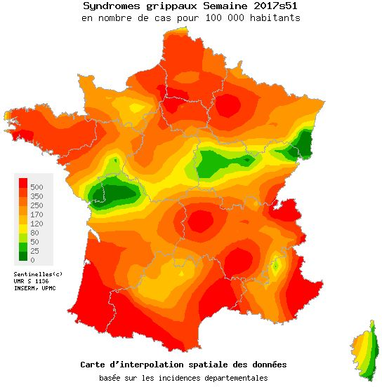 Carte nationale du réseau Sentinelles sur l'épidémie de grippe