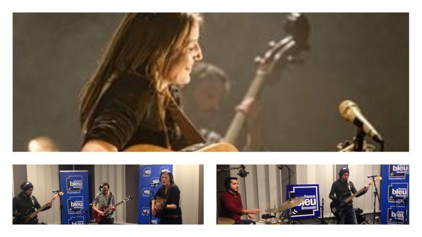Lise Dellac invitée avec ces musiciens dans les studios de France Bleu Limousin
