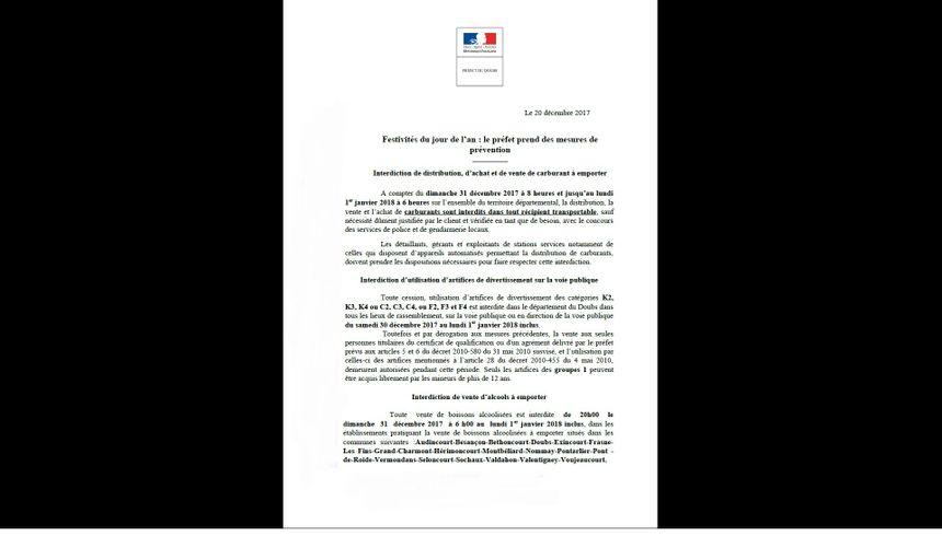 Communiqué de presse de la préfecture du Doubs.