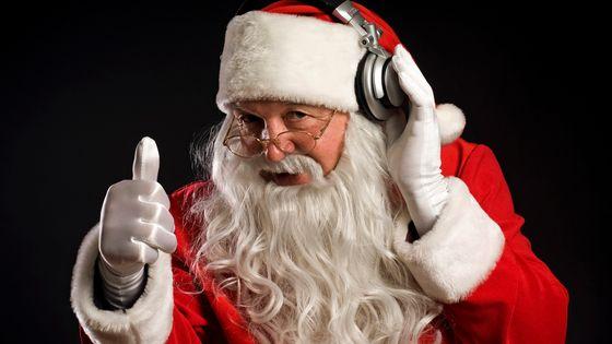 Traditional Santa Claus listening music